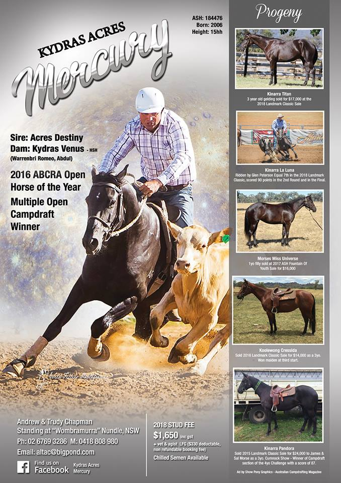 Kydras Acres Mercury ad 2018