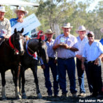 Pete Comiskey & Paris, 2015 Condamine Bell winners, with judge & sponsors.