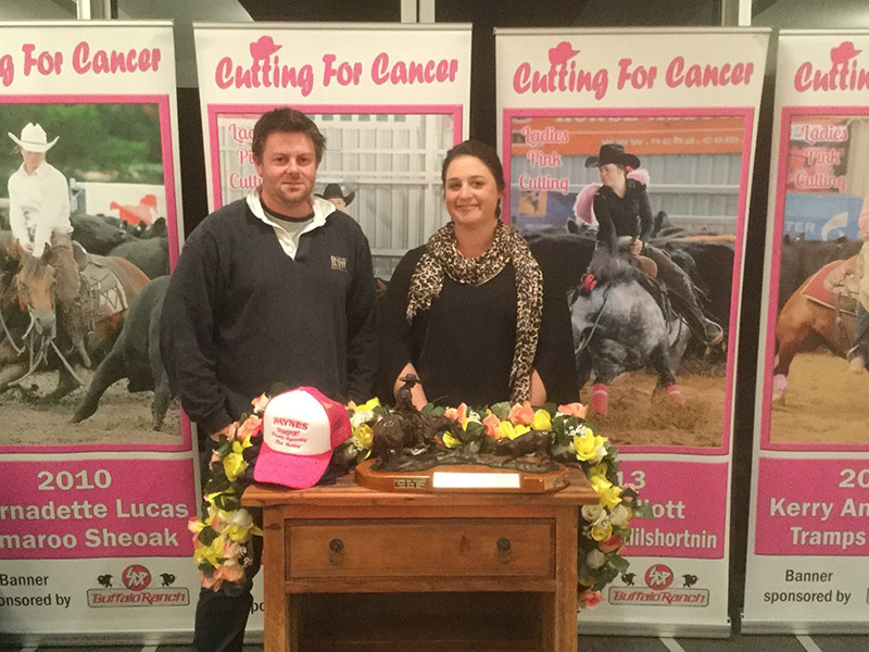 Winner of the Ladies Pink Cutting, Sarah Crawford who rode This Catifex (223) owned by Julie Jones at evening presentation with Danny Payne of Paynes Transport