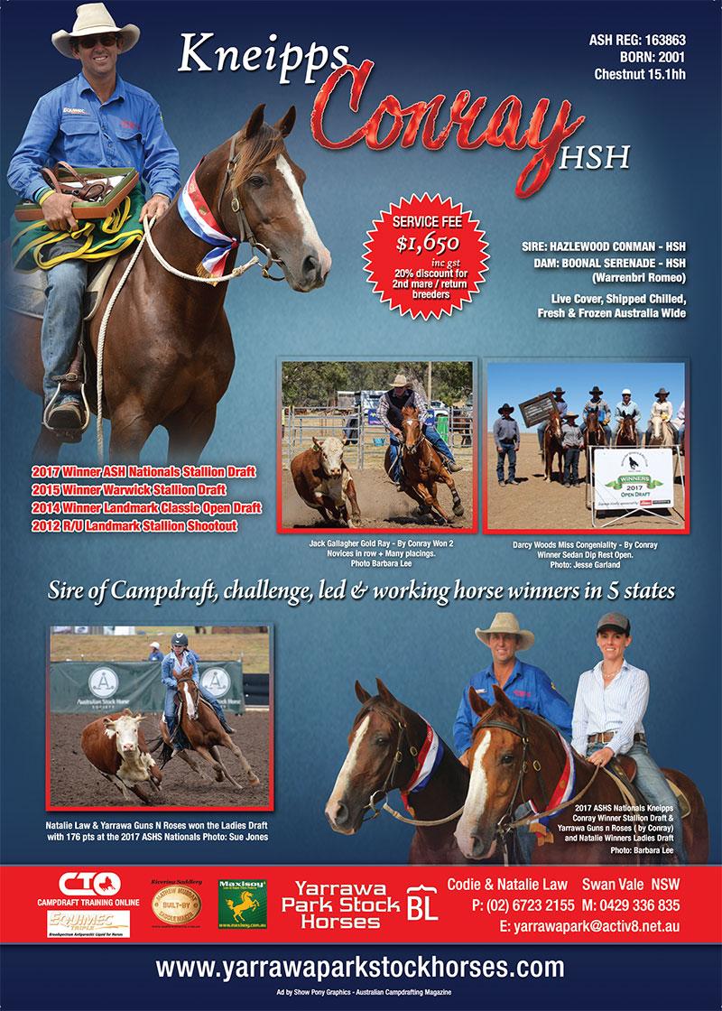 Kneipps Conray ad, Australian Campdrafting Magazine.