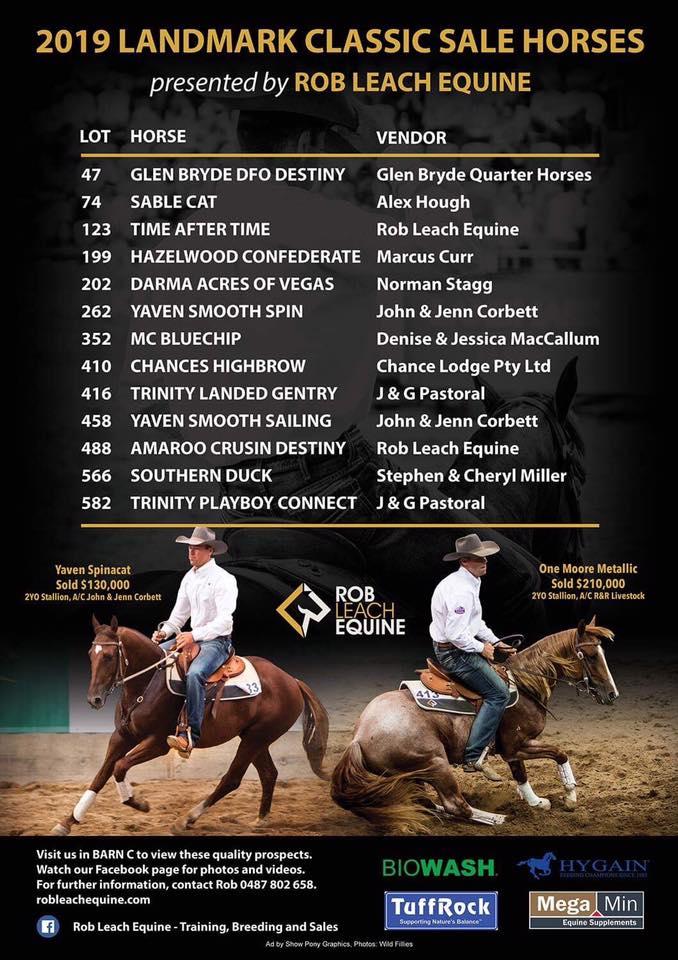 Rob Leach Equine 2019 Landmark Classic Sale Horses