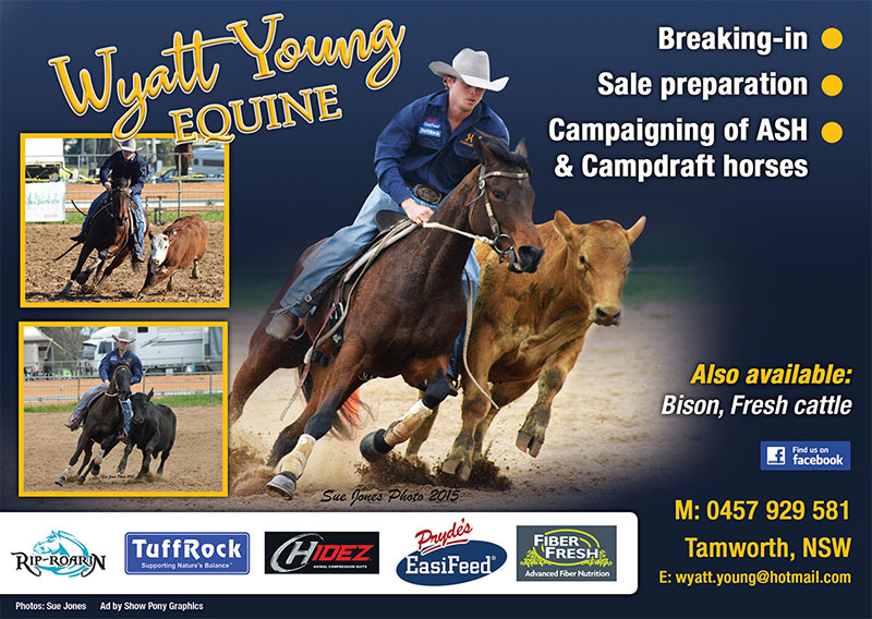 Wyatt Young Equine ad, Australian Campdrafting Magazine 2018