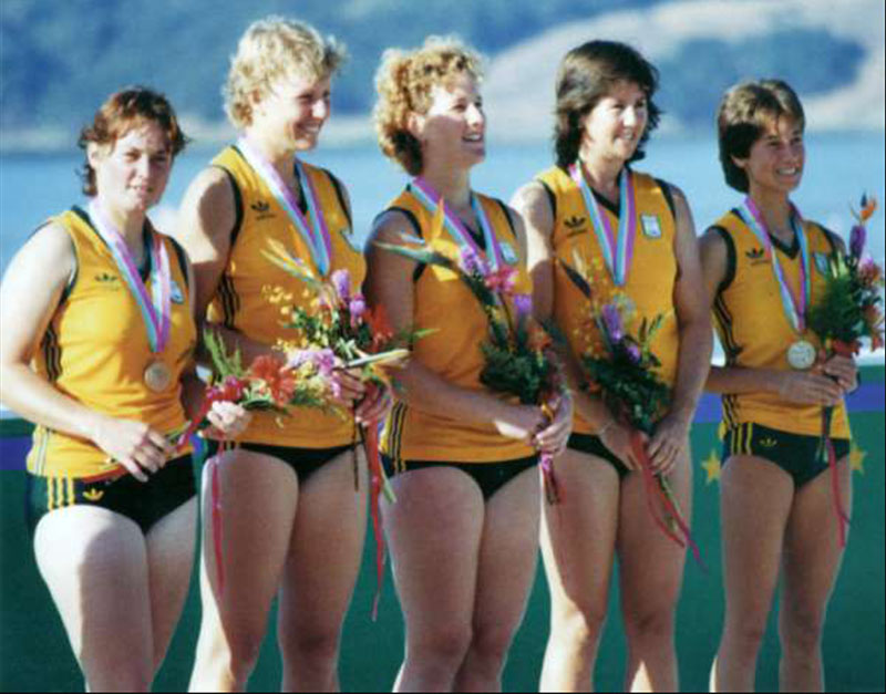 1984 Olympic women's coxed four rowing bronze medalists., Los Angeles. (Sue, far right)