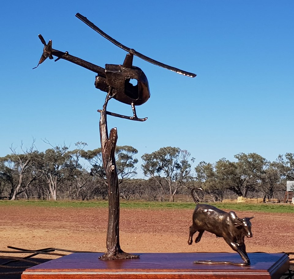 Chopper in the air! New Bush Bronze, hadmade by Jaye Daley Hall.